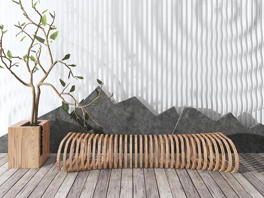 现代假山户外椅盆景组合3D模型【ID:37242137】