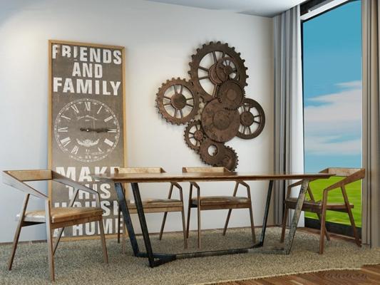 工业风桌椅齿轮挂件组合3D模型【ID:37242963】