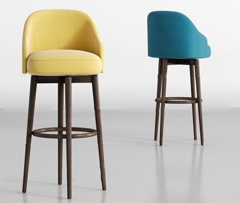 现代实木布艺吧椅组合3D模型