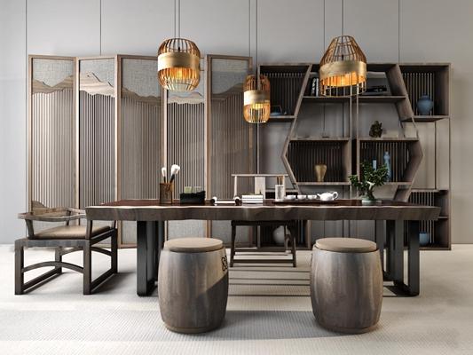 中式茶桌椅凳子屏风组合3D模型【ID:37243565】