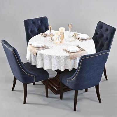 欧式圆形餐桌椅3D模型