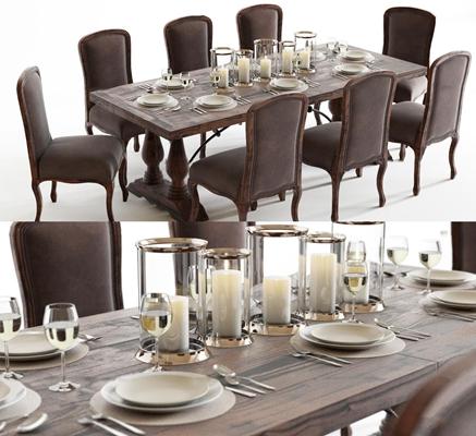 欧式实木餐桌椅餐具组合3D模型【ID:319705403】
