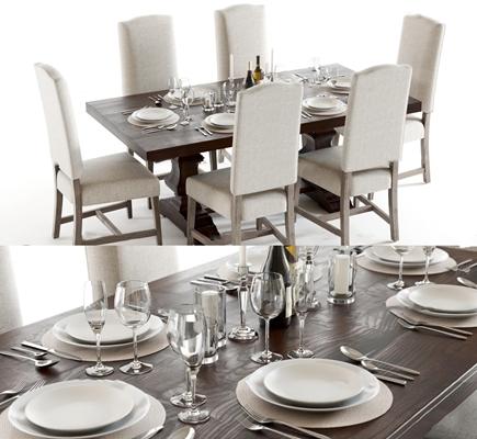 欧式实木餐桌椅餐具组合3D模型【ID:37243942】
