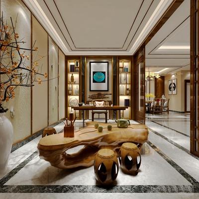 新中式茶室餐厅组合3d模型【ID:37246547】