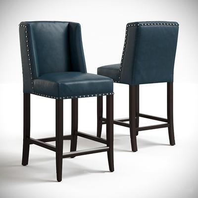 美式皮革吧台椅3D模型【ID:37248619】