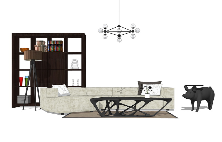 現代客廳沙發茶幾組合SU模型【ID:436365157】