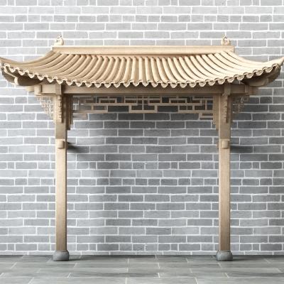 中式屋檐屋頂門頭3D模型【ID:728468863】