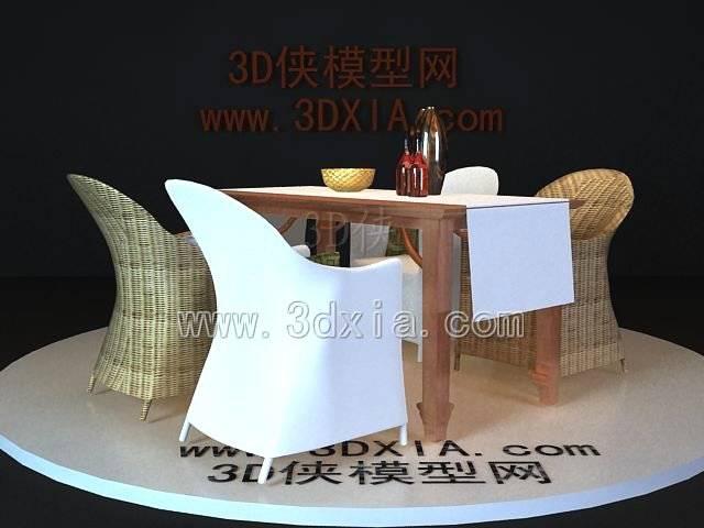 桌椅组合3D模型-版本2009-95【ID:37553】