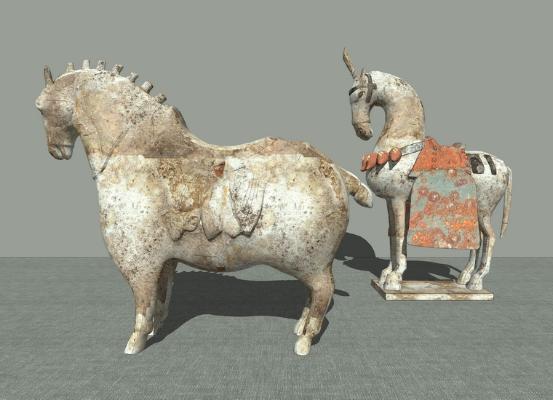 新中式古代陶馬擺件SU模型【ID:945896623】