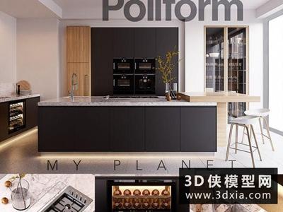 現代廚柜國外3D模型【ID:829363073】