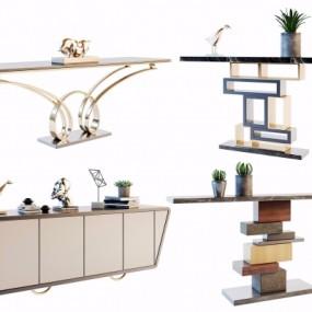 现代端景条案电视柜组合3D模型【ID:928560156】
