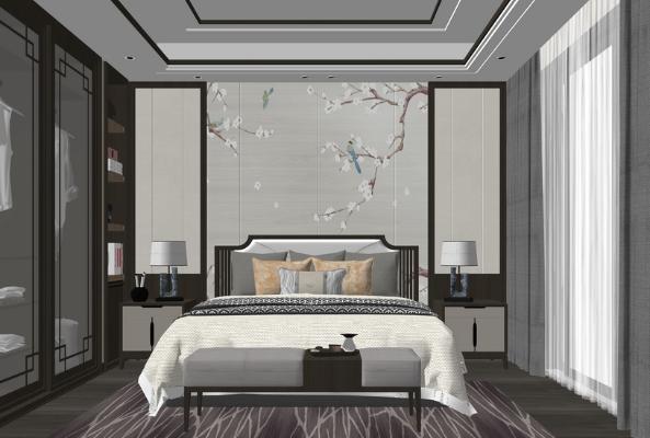 新中式臥室SU模型【ID:247621370】