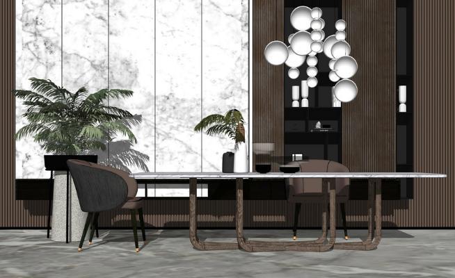 现代餐桌SU模型【ID:646379615】