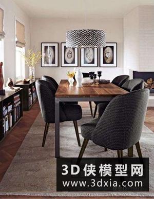 北歐餐桌椅組合國外3D模型【ID:729785713】