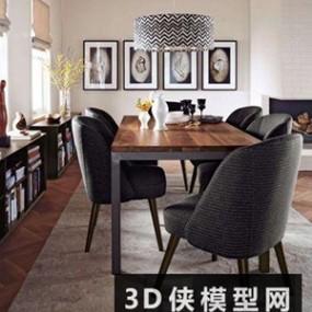 北欧餐桌椅组合国外3D模型【ID:729785713】