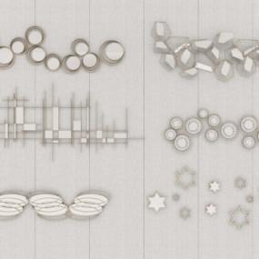 现代金属墙饰挂件组合3D模型【ID:227782288】