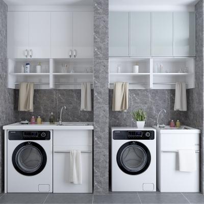 現代洗衣機裝飾柜擺件組合3D模型【ID:127761552】