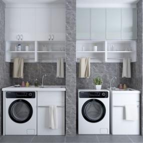 现代洗衣机装饰柜摆件组合3D模型【ID:127761552】