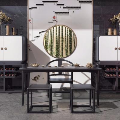 中式实木茶桌椅组合3D模型【ID:328440634】