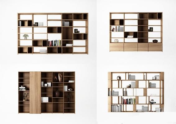 北欧书柜组合3D模型【ID:928175569】