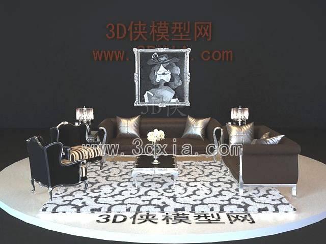 沙发组合3D模型-版本2009-a6183【ID:38595】