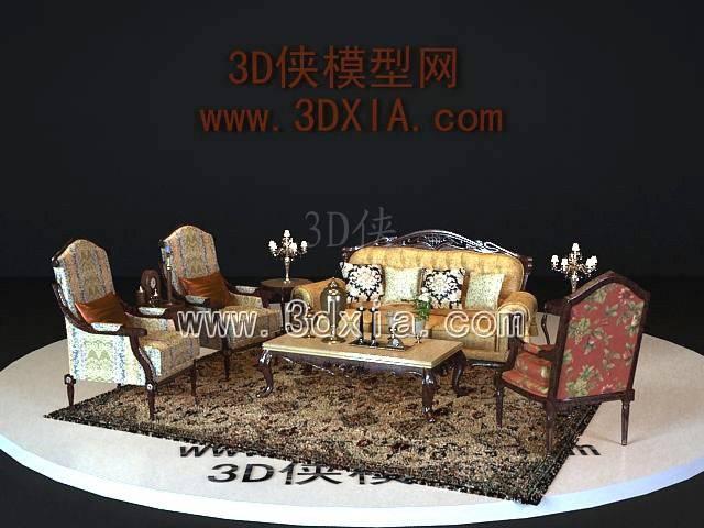 沙发组合3D模型-版本2009-a6185【ID:38596】