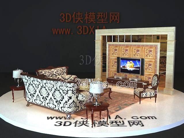 沙发组合-版本2009-a62543D模型【ID:38603】