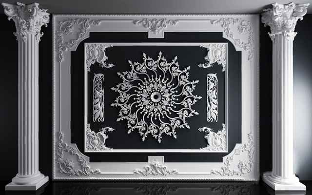 歐式石膏線條雕花組合3D模型【ID:828145628】