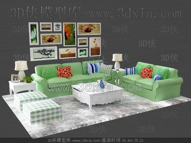沙发组合3D模型-版本2009-b165【ID:38678】