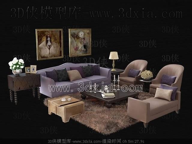 沙发组合3D模型-版本2009-b182【ID:38685】
