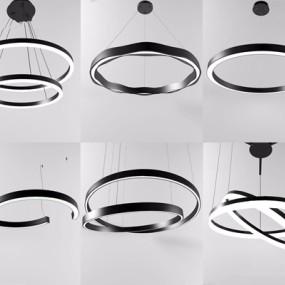 现代LED吊灯组合3D模型【ID:528281829】