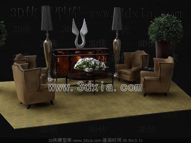沙发组合3D模型-版本2009-b295【ID:38725】