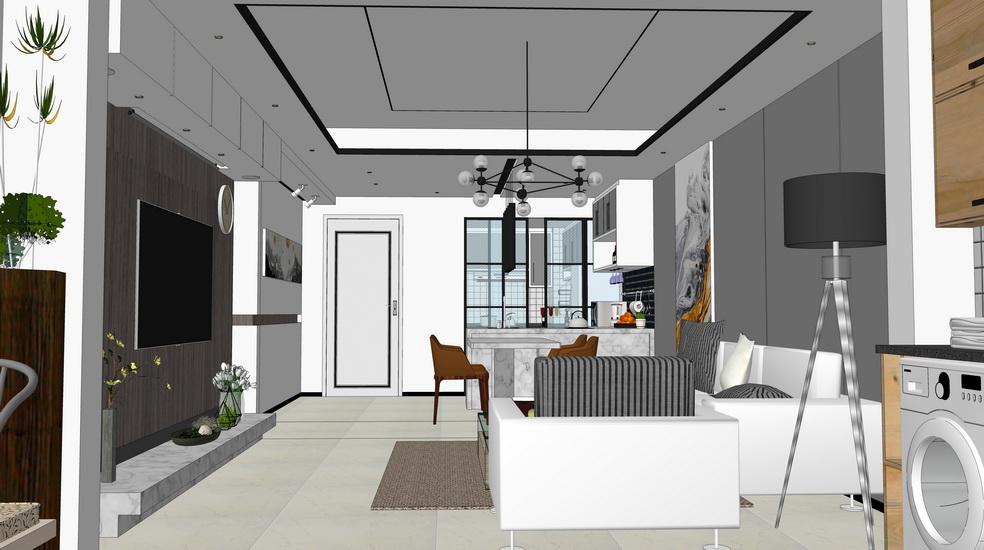 現代風格兩房兩廳室內設計SU模型【ID:336366835】