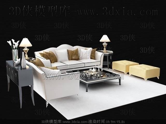 沙发组合3D模型-版本2009-b414【ID:38757】