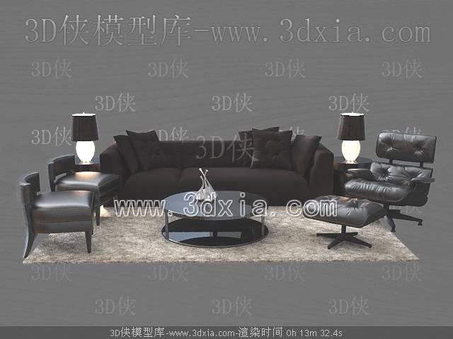 沙发组合3D模型-版本2009-143【ID:38866】