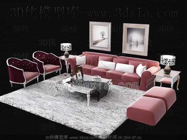 沙发组合3D模型-版本2009-17【ID:38894】