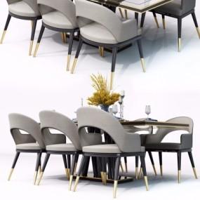 后现代实木餐桌椅组合3D模型【ID:328438406】