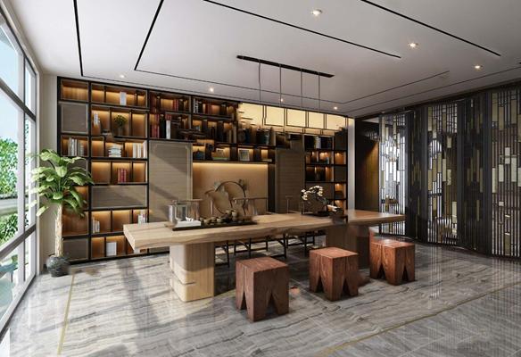 新中式茶室3D模型【ID:124879865】