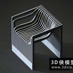 现代木质休闲椅国外3D模型【ID:729664859】