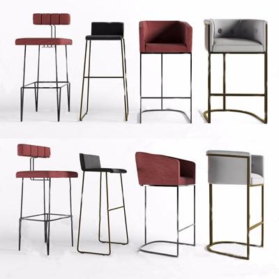 現代低奢吧臺椅組合3D模型【ID:328252198】