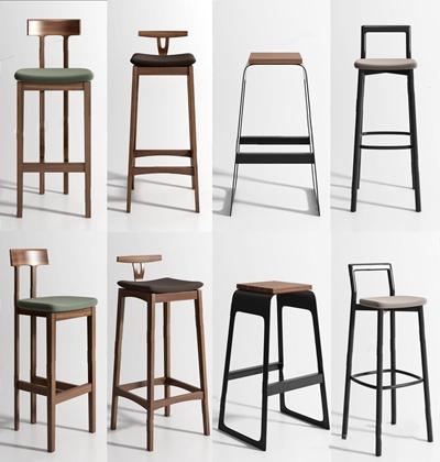 现代吧椅组合3D模型【ID:327923158】