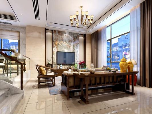 新中式客餐厅3D模型【ID:124895813】