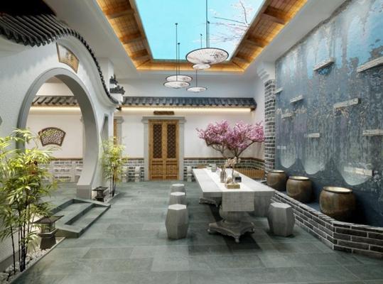 新中式徽派饭店餐厅3D模型【ID:327914412】