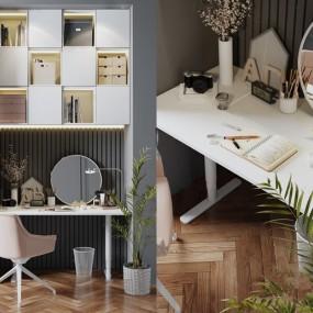 現代書桌椅書柜組合3d模型【ID:947686006】