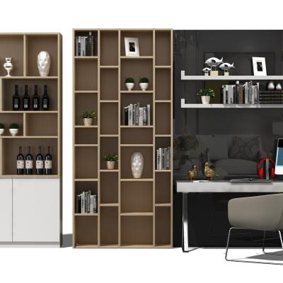 现代酒柜装饰柜书桌椅组合3D模型【ID:927833284】