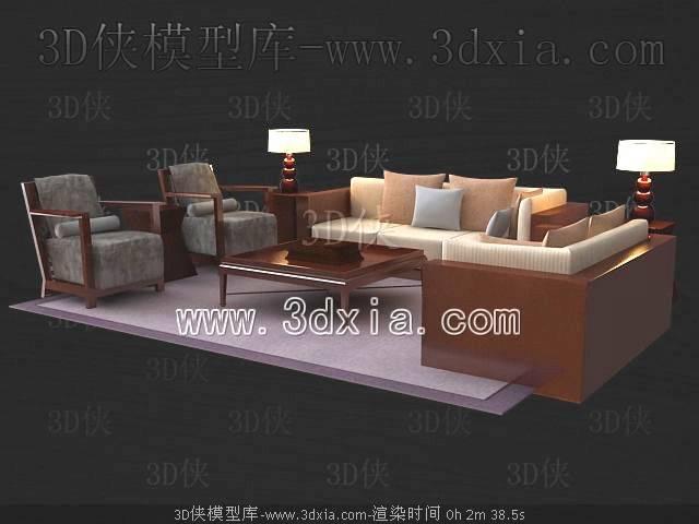 沙发组合3D模型-版本2009-300【ID:39020】