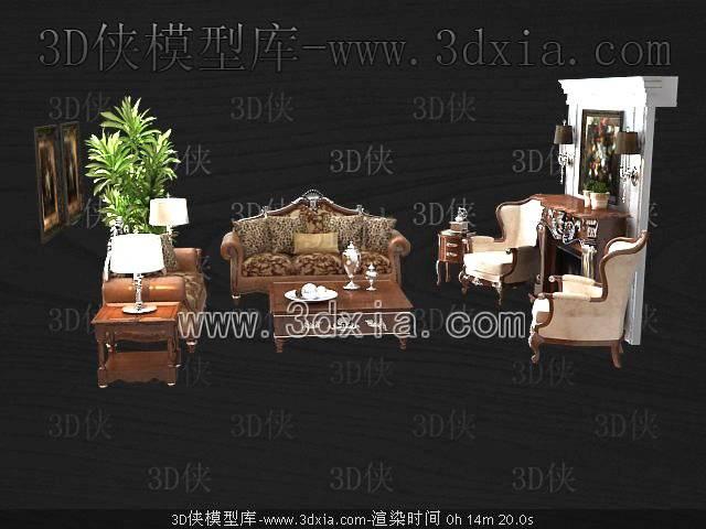 沙发组合-版本2009-3043D模型【ID:39024】
