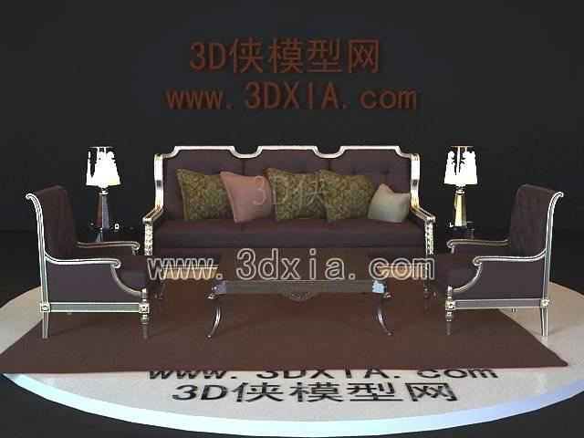 沙发组合3D模型-版本2009-342【ID:39060】