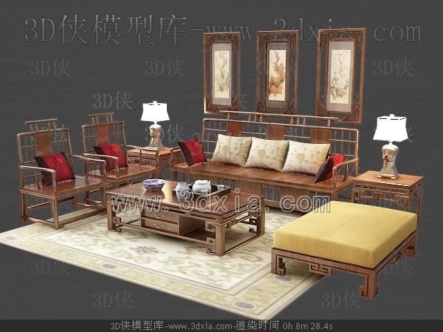沙发组合3D模型-版本2009-344【ID:39062】