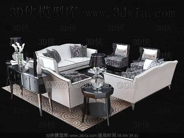 沙发组合3D模型-版本2009-368【ID:39146】